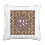 Prairie Paisley Monogram Square Canvas Pillow