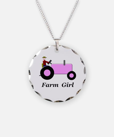 Farm Girl Pink Tractor Necklace