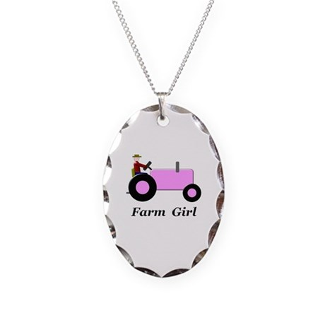 Farm Girl Pink Tractor Necklace Oval Charm