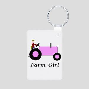 Farm Girl Pink Tractor Aluminum Photo Keychain