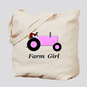 Farm Girl Pink Tractor Tote Bag