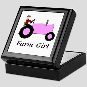 Farm Girl Pink Tractor Keepsake Box
