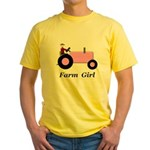 Farm Girl Pink Tractor Yellow T-Shirt