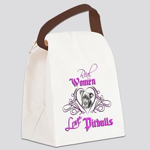 Real Women Love Pitbulls Canvas Lunch Bag