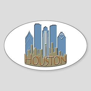 Houston Skyline NewWave Beachy Sticker (Oval)