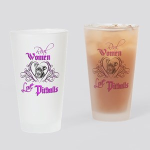 Real Women Love Pitbulls Drinking Glass