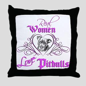 Real Women Love Pitbulls Throw Pillow