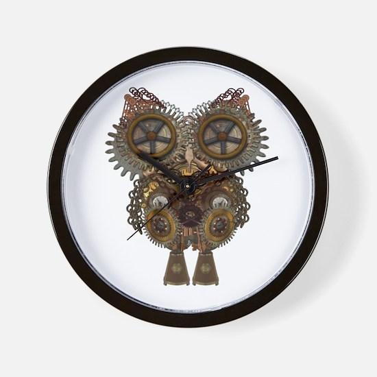 Large Steampunk Owl Wall Clock