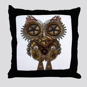 Large Steampunk Owl Throw Pillow