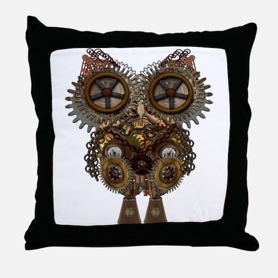 Large Steampunk Owl Throw Pillow