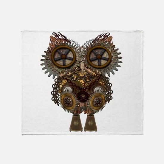 Large Steampunk Owl Throw Blanket
