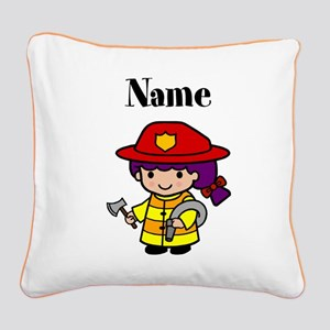 Personalized Girl Firefighter Pillow