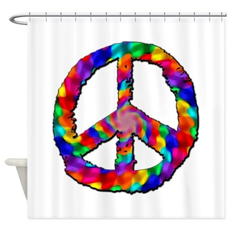 Psychedelic Peace Sign Shower Curtain By TheCafeMarket