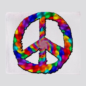 Psychedelic Peace Sign Throw Blanket