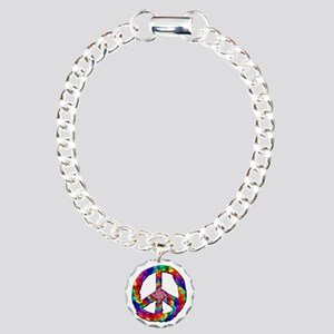 Psychedelic Peace Sign Charm Bracelet, One Charm