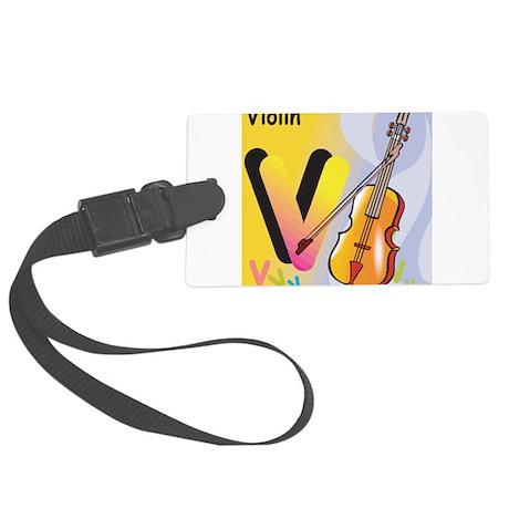 V for Violin Large Luggage Tag