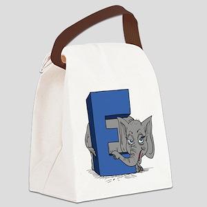 E For Elephant Canvas Lunch Bag