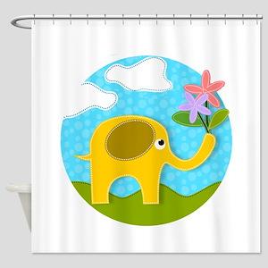 Cute Gold Applique Elephant in Fiel Shower Curtain