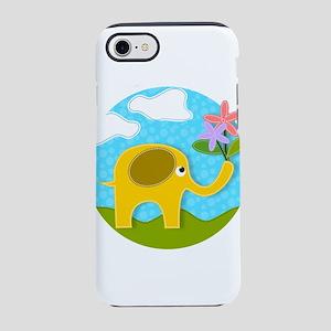 Cute Gold Applique Elephant in iPhone 7 Tough Case