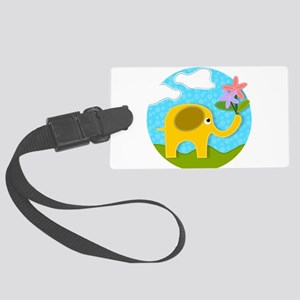 Cute Gold Applique Elephant in F Large Luggage Tag