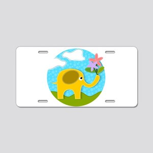 Cute Gold Applique Elephant Aluminum License Plate