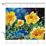 Garden Yellow Floral Shower Curtain