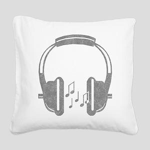 Vintage Headphone Square Canvas Pillow