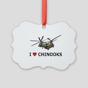 I Love Chinooks Picture Ornament