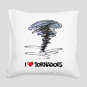 I Love Tornado Square Canvas Pillow