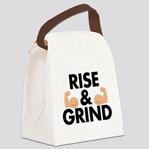 Rise and Grind Arm Emoji Canvas Lunch Bag