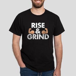 Rise and Grind Arm Emoji Dark T-Shirt