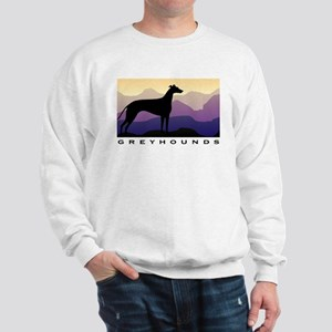 greyhound dog purple mountains Sweatshirt