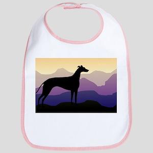 greyhound dog purple mountains Bib