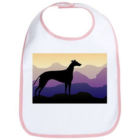 greyhound dog purple mountains Bib