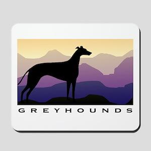 greyhound dog purple mountains Mousepad