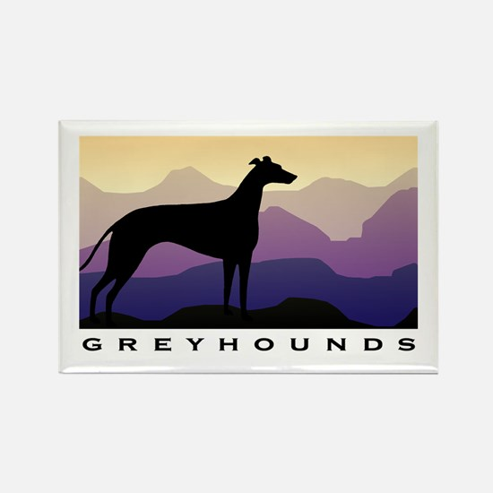 greyhound dog purple mountains Rectangle Magnet