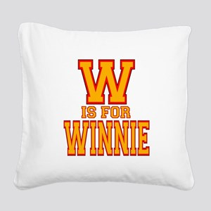 W is for Winnie Square Canvas Pillow