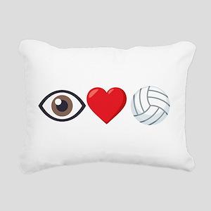 I Heart Volleyball Emoji Rectangular Canvas Pillow