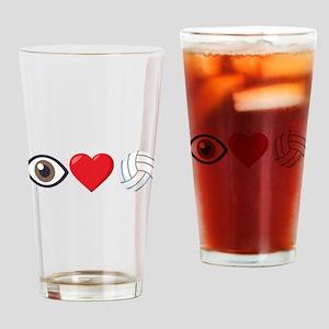 I Heart Volleyball Emoji Drinking Glass
