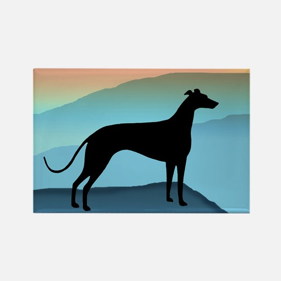 greyhound blue mt. Rectangle Magnet