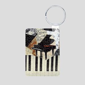 Grand Piano Aluminum Photo Keychain