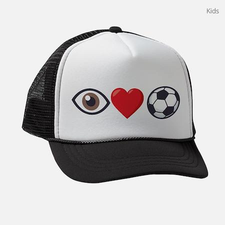 I Heart Soccer Emoji Kids Trucker Hat
