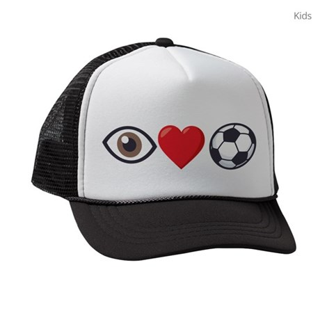 I Heart Soccer Emoji Kids Trucker hat
