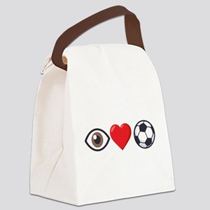 I Heart Soccer Emoji Canvas Lunch Bag