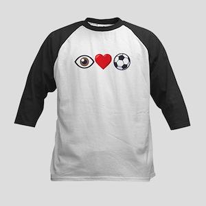 I Heart Soccer Emoji Kids Baseball Tee