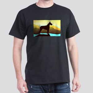 Great Dane By the Sea Black T-Shirt