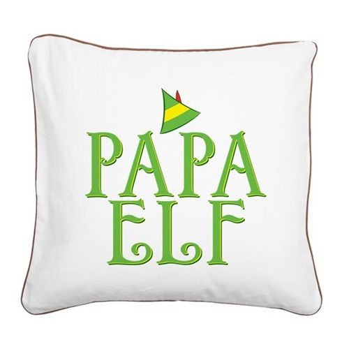 Papa Elf Square Canvas Pillow