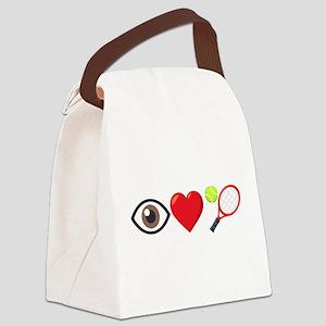 I Heart Tennis Emoji Canvas Lunch Bag