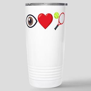 I Heart Tennis Em 16 oz Stainless Steel Travel Mug