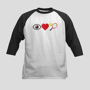 I Heart Tennis Emoji Kids Baseball Tee